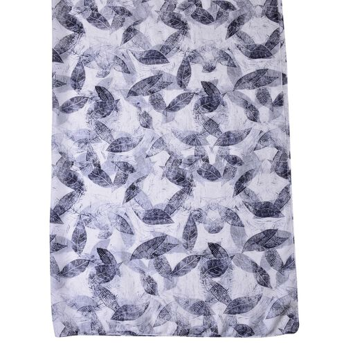 100% Mulberry Silk Black and White Colour Leaves Pattern Scarf (Size 180X110 Cm)