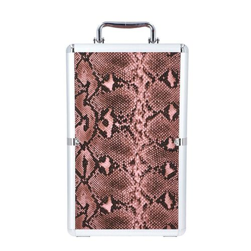 New Arrival- Five Tier Anti-Tarnish Snake Skin Pattern Jewellery Box with Lock and Handle - Pink