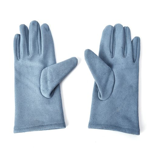 Solid Colour Women Winter Gloves with Star Embroidery on the Wrist (Size 8.9x22.9 Cm) - Blue