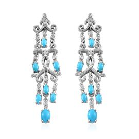 Arizona Sleeping Beauty Turquoise (Ovl), Natural Cambodian Zircon Chandelier Earrings in Platinum Ov