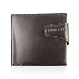 CERRUTI 1881 - 100% Genuine Leather Grey Colour CD/DVD/BLU-RAY Wallet (Size 16x14 Cm)