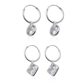 ELANZA - AAA Set of 2 Simulated Diamond Hoop Earrings in Sterling Silver
