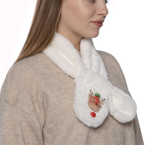 Faux Fur Scarf (Size 10x90cm) - Off-White