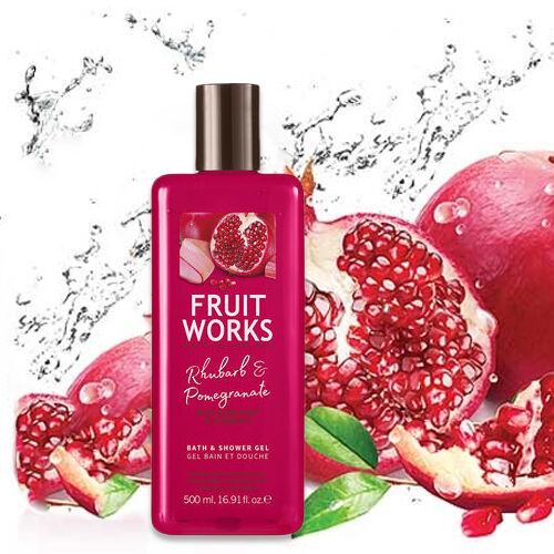 FruitWorks: Rhubarb & Pomegranate Bath & Shower Gel (With Aloe Vera & Vitamin E) - 500ml