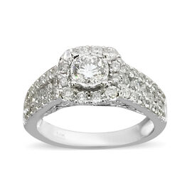 Close Out Deal- 14K White Gold Diamond (Rnd) (I1-I2/G-H) Ring 1.25 Ct, Gold wt 5.40 Gms