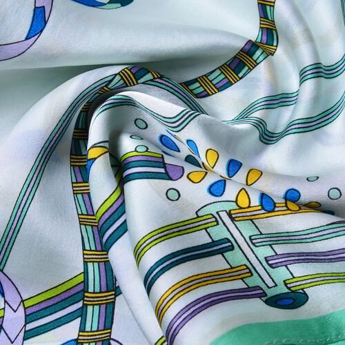 100% Mulberry Silk White, Green and Multi Colour Art Stripes Pattern Scarf (Size 170x52 Cm) Finish Silk 50 Gram