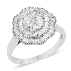 Diamond (Bgt and Rnd) Ring in Platinum Overlay Sterling Silver 1.153 Ct.