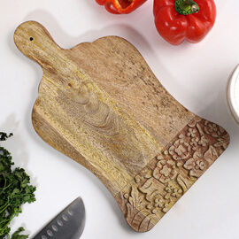 NAKKASHI Handcrafted Wooden Chopping Board (Size 35.5X19.5 Cm)