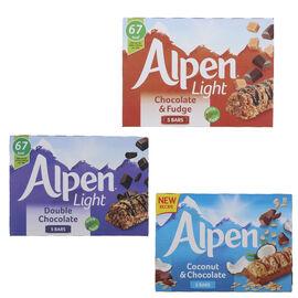 Alpen Light: Coconut & Chocolate (5x29G), Double Chocolate (5X19G) & Chocolate & Fudge (5x19G) (Set