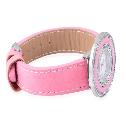 Time Piece Pick Of the Show Deal - STRADA Japanese Movement Mother of Pearl Watch With Interchangeable Bezels - Pink Strap