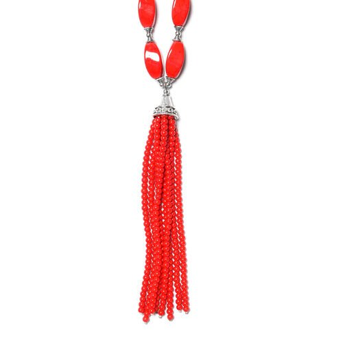 Red Howlite Necklace (Size 18 with 2.5 inch Extender) in Silver Tone 264.00 Ct.