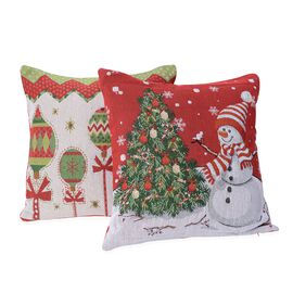 Set of 2 - Christmas Theme Cushion Cover (Size 43x43 Cm) - White and Multicolour