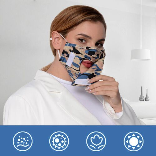 Camouflage Pattern Double Layer Open Mouth Reusable Face Covering with Adjustable Ear Loop (Size 22x