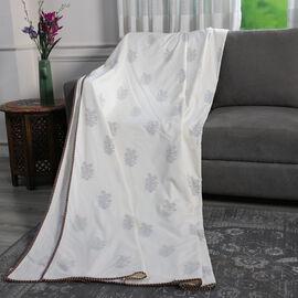 Reversible Hand Block Printed Cotton Muslin Dohar Summer Throw Blanket -Yellow Flower Design