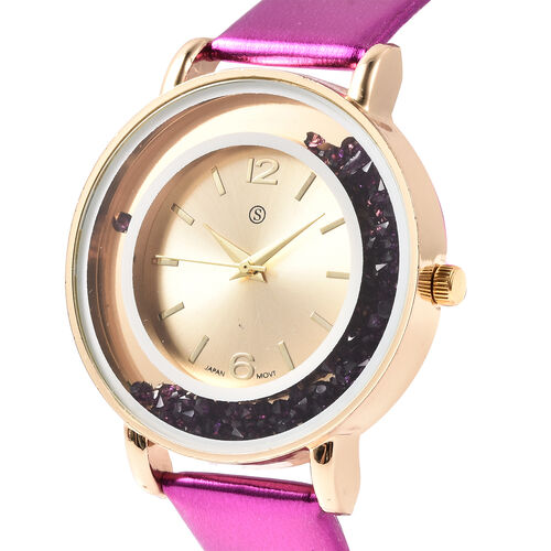 6 Piece Set - STRADA Japanese Movement Moving Purple Austrian Crystal Water Resistant Watch with Purple Strap and Set of 5 Adjustable Bracelet (Size 6.5-7.5) in Gold Tone