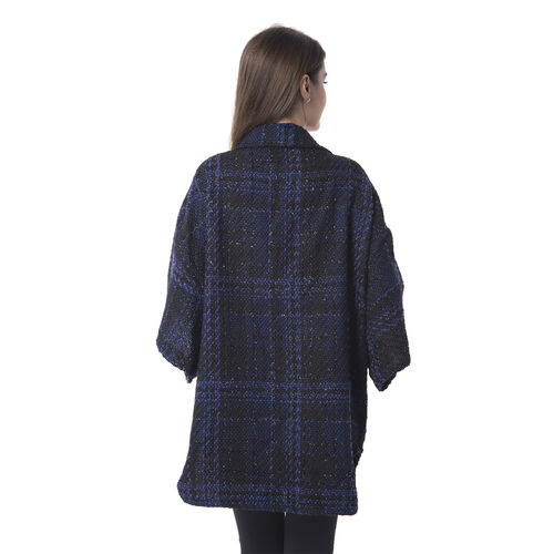 Designer Inspired - Black Colour Check Pattern Jacket with Collar (Size 80x65Cm)