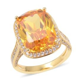 Simulated Yellow Sapphire (Cush 16x12), Simulated Diamond Ring  in Gold Plated