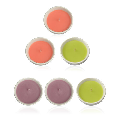 6 Piece Set Ceramic Summer Fragrance Candles (Lemongrass, Vanilla Orchid and Exotic Mango Fragrance) (Size 7.2x3 Cm)