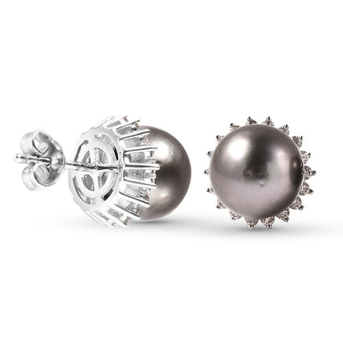 Tahiti Pearl and Natural Cambodian Zircon Halo Stud Earrings (with Push Bcak) in Rhodium Overlay Sterling Silver