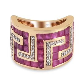 African Ruby (FF) & Natural Cambodian Zircon Ring in 14K Gold Overlay Sterling Silver 6.270 Ct., Sil