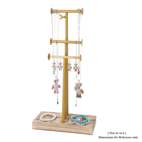 3 Tier Jewellery Stand in Gold Colour with Wooden Base