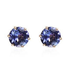 Tanzanite Solitaire Stud Earrings in 9K Gold  1.75 Ct
