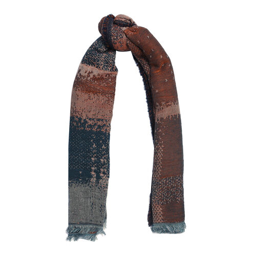 Super Luxurious Mohair & Cotton Blend Scarf - Blue and Brown Colour (Size 70x180 Cm)