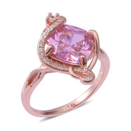 ELANZA Pink Cubic Zirconia and Simulated Diamond Solitaire Design Ring in Sterling Silver 4.1 Grams