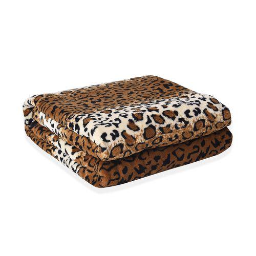 Super Soft Microfibre Plush Blanket Leopard Print (Size 150x200 Cm) - Black, Brown and Off-White Colour