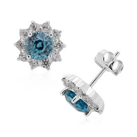 Ratnakiri Blue Zircon (Rnd), Natural Cambodian White Zircon Earrings (with Push Back) in Rhodium Ove