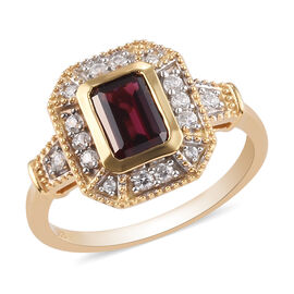 AA Rhodolite Garnet and Natural Cambodian Zircon Ring in 14K Gold Overlay Sterling Silver