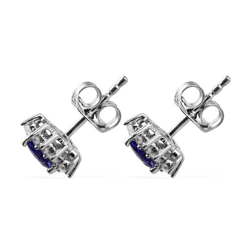 AA Tanzanite and Natural Cambodian Zircon Stud Earrings (with Push Back) in Platinum Overlay Sterling Silver 1.25 Ct.