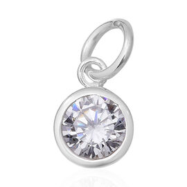 ELANZA Simulated Diamond (Rnd) Solitaire Pendant in Sterling Silver
