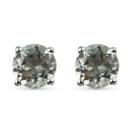 Prasiolite 2 Stone Push Post Earring in Platinum Overlay Sterling Silver 0.50 ct  0.500  Ct.