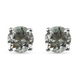 Prasiolite 2 Stone Push Post Earrings (with Push Back) in Platinum Overlay Sterling Silver 1.59 Ct.