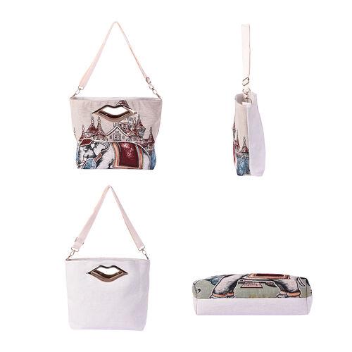 Elephant Jacquard Pattern Crossbody Bag with Metallic Lip-Shaped Top Handles in Beige