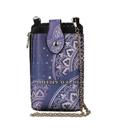 lifestyle-Color Blue ethnic pattern size/Profile cell phone bag wall(exterior) Semi-PU Lining(interior) Pockets(exterior) zipped-1 button-1 Pockets(interior)