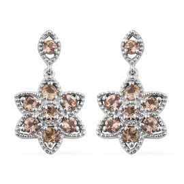 Imperial Topaz (Rnd) Floral Earrings (with Push Back) in Platinum Overlay Sterling Silver 2.000 Ct.