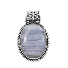 Artisan Crafted Blue Lace Agate (Ovl) Pendant in Sterling Silver 16.480 Ct.