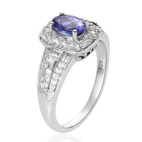 Tanzanite and Natural Cambodian Zircon Ring in Platinum Overlay Sterling Silver 1.50 Ct.