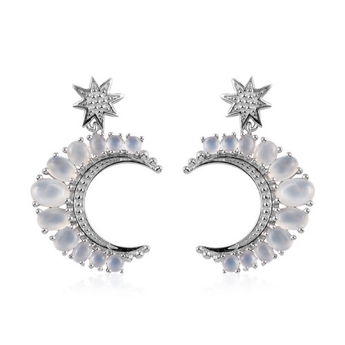 GP Sri Lankan White Moonstone and Blue Sapphire Crescent Moon and Star Earrings (with Push Back) in