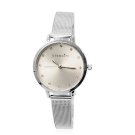 Close Out Deal- ETERNITY Swarovski Studded Ladies Watch with Silver Tone Mesh Strap