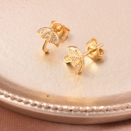 RACHEL GALLEY - Natural Cambodian Zircon Umbrella Stud Earrings (with Push Back) in Yellow Gold Overlay Sterling Silver