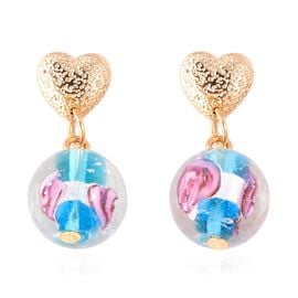 Blue Murano Glass Earrings (with Push Back) in Gold Tone