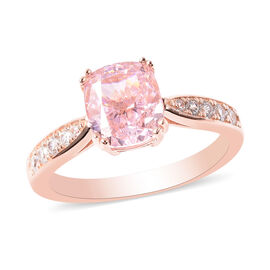 ELANZA Simulated Pink Diamond and Simulated White Diamond Ring in Rose Gold Overlay Sterling Silver