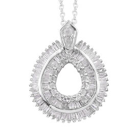0.50 Carat Diamond Halo Pendant with Chain in Platinum Plated Sterling Silver 2.94 Grams 20 Inch
