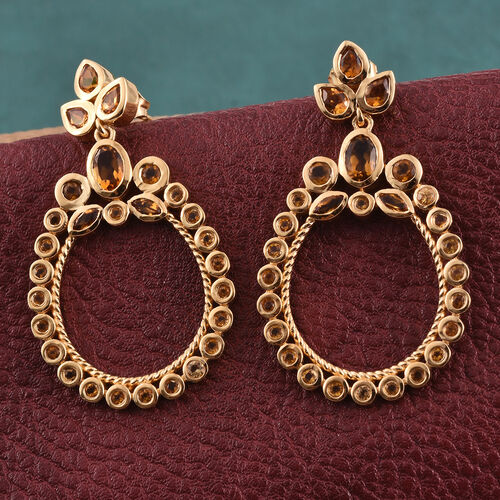 Citrine (Ovl) Earrings (with Push Back) in 14K Gold Overlay Sterling Silver 3.250 Ct.