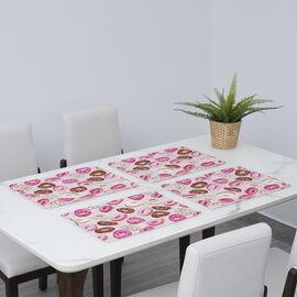 Set of 4 - Waterproof Donut Rint Pattern Kitchen Placemat (Size 41x29Cm) - Pink