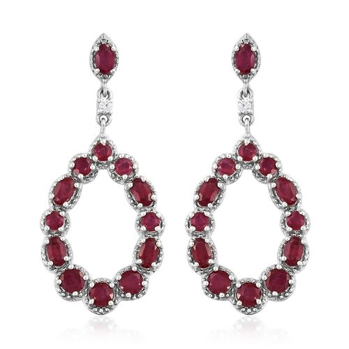 African Ruby (Rnd), Natural Cambodian Zircon Drop Earrings (with Push Back) in Platinum Overlay Sterling Silver 7.000 Ct. Silver wt 6.46 Gms.