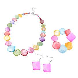 3 Piece Set - Multi Colour Shell Necklace (Size 18 with 2 inch Extender), Stretchable Bracelet (Size